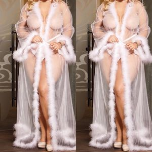Other - White Gown with Faux Fur Trim